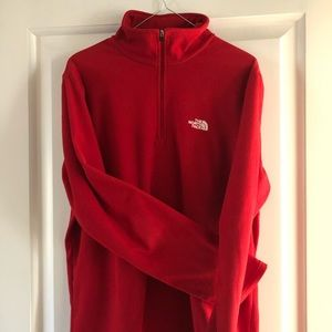 North Face red fleece 1/4 zip pullover